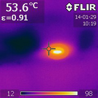 Thermal imaging indicates moisture in the ceiling.